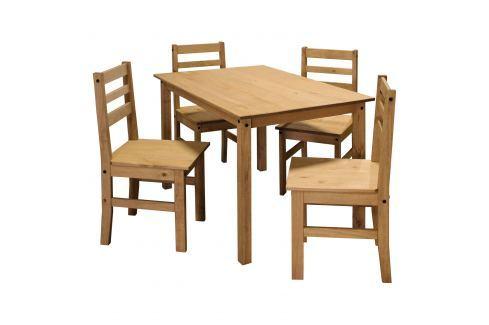 Stůl + 4 židle CORONA vosk Pokoj a jídelna - Stoly a stolky - Jídelní stoly
