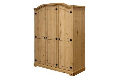 Skříň 3dveřová CORONA vosk Úložné prostory - Skříně