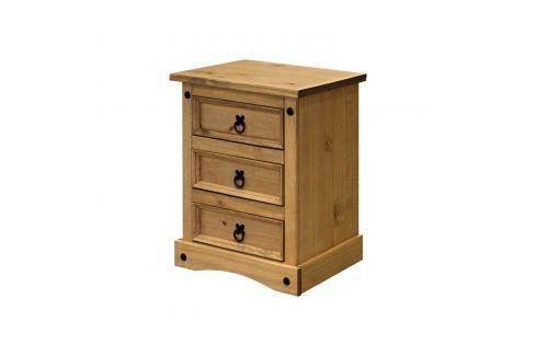 Noční stolek 3 zásuvky CORONA vosk Pokoj a jídelna - Stoly a stolky - Noční stolky