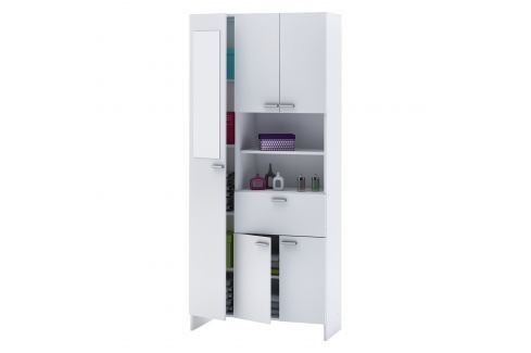 Vysoká skříňka 1+4 dveře + 1 zásuvka KORAL bílá Úložné prostory - Komody