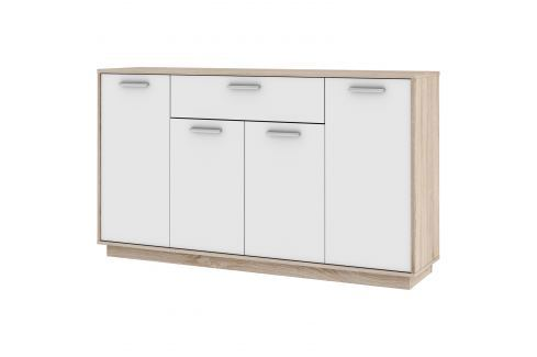 Komoda LEO 4 dveře + 1 zásuvka dub/bílá Úložné prostory - Komody