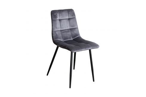 Jídelní židle BERGEN šedý samet Pokoj a jídelna - Jídelní židle