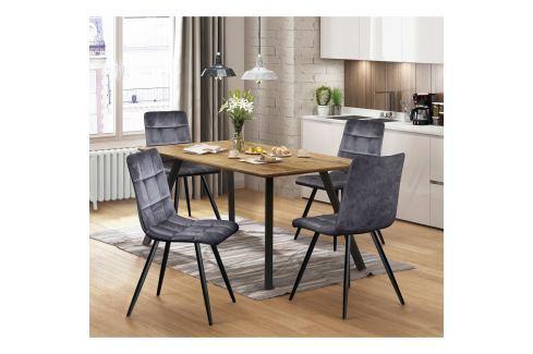 Jídelní stůl BERGEN dub + 4 židle BERGEN šedý samet Pokoj a jídelna - Jídelní sestavy