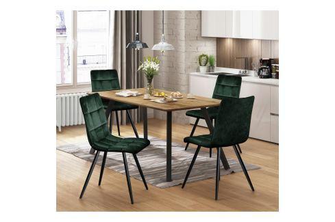 Jídelní stůl BERGEN dub + 4 židle BERGEN zelený samet Pokoj a jídelna - Jídelní sestavy