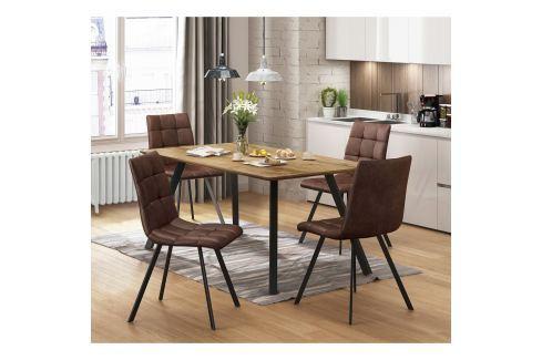 Jídelní stůl BERGEN dub + 4 židle BERGEN hnědé mikrovlákno Pokoj a jídelna - Jídelní sestavy