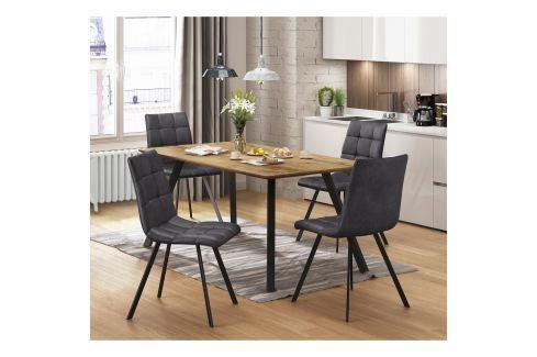 Jídelní stůl BERGEN dub + 4 židle BERGEN šedé mikrovlákno Pokoj a jídelna - Jídelní sestavy
