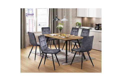 Jídelní stůl BERGEN dub + 6 židlí BERGEN šedý samet Pokoj a jídelna - Jídelní sestavy