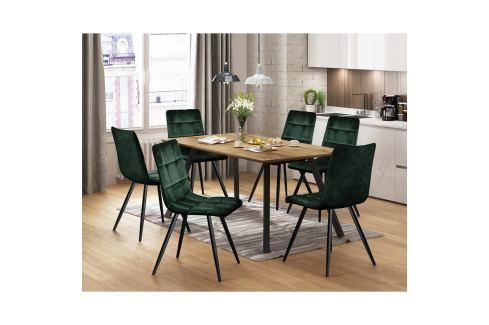 Jídelní stůl BERGEN dub + 6 židlí BERGEN zelený samet Pokoj a jídelna - Jídelní sestavy