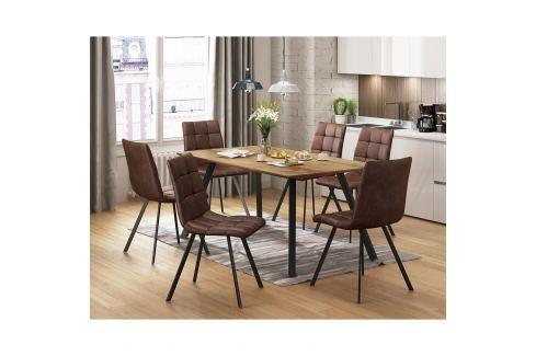 Jídelní stůl BERGEN dub + 6 židlí BERGEN hnědé mikrovlákno Pokoj a jídelna - Jídelní sestavy