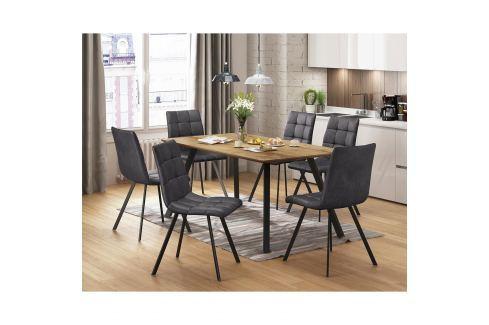 Jídelní stůl BERGEN dub + 6 židlí BERGEN šedé mikrovlákno Pokoj a jídelna - Jídelní sestavy