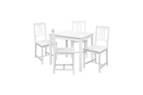 Jídelní stůl 8842B bílý lak + 4 židle 869B bílý lak Pokoj a jídelna - Jídelní sestavy