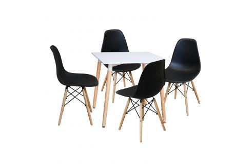 Jídelní stůl 80x80 UNO bílý + 4 židle UNO černé Pokoj a jídelna - Jídelní sestavy