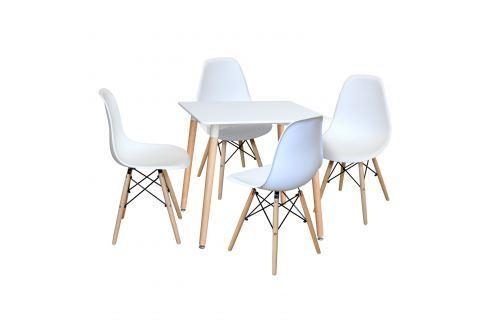 Jídelní stůl 80x80 UNO bílý + 4 židle UNO bílé Pokoj a jídelna - Jídelní sestavy