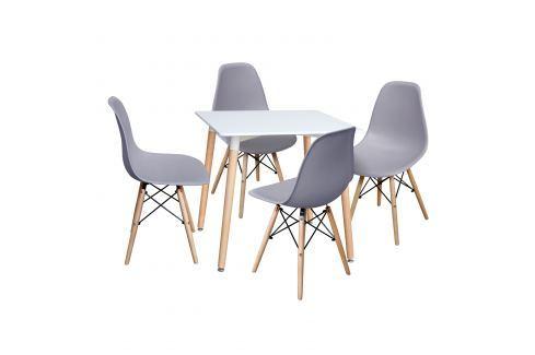 Jídelní stůl 80x80 UNO bílý + 4 židle UNO šedé Pokoj a jídelna - Jídelní sestavy