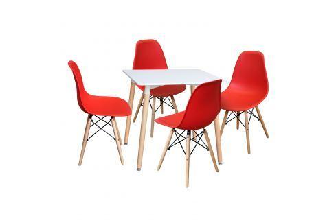 Jídelní stůl 80x80 UNO bílý + 4 židle UNO červené Pokoj a jídelna - Jídelní sestavy