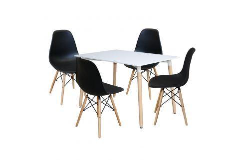 Jídelní stůl 120x80 UNO bílý + 4 židle UNO černé Pokoj a jídelna - Jídelní sestavy
