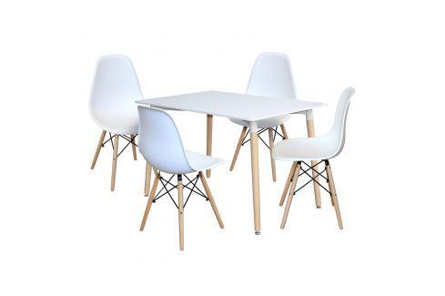 Jídelní stůl 120x80 UNO bílý + 4 židle UNO bílé Pokoj a jídelna - Jídelní sestavy