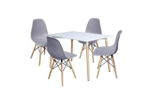 Jídelní stůl 120x80 UNO bílý + 4 židle UNO šedé Pokoj a jídelna - Jídelní sestavy