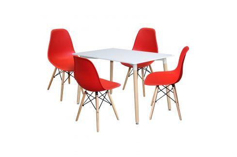 Jídelní stůl 120x80 UNO bílý + 4 židle UNO červené Pokoj a jídelna - Jídelní sestavy