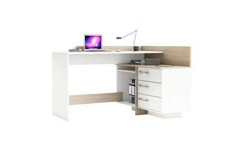 Psací stůl rohový THALES 484881 dub/bílá Pracovna - Psací a PC stoly