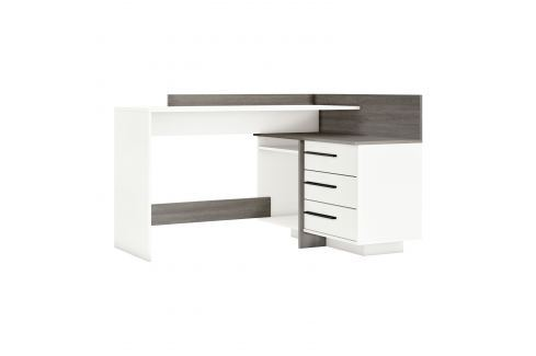 Psací stůl rohový THALES 484883 dub Prata/bílá Pracovna - Psací a PC stoly