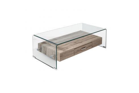 Konferenční stolek 1 zásuvka sklo/MDF Pokoj a jídelna - Stoly a stolky - Konferenční stolky