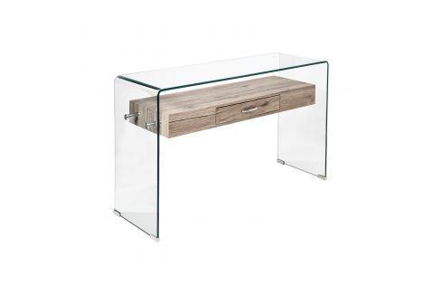 Odkládací stolek 1 zásuvka sklo/MDF Pokoj a jídelna - Stoly a stolky - Konferenční stolky