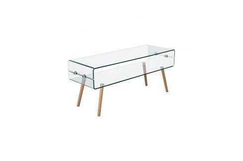 Konferenční stolek sklo/buk Pokoj a jídelna - Stoly a stolky - Konferenční stolky