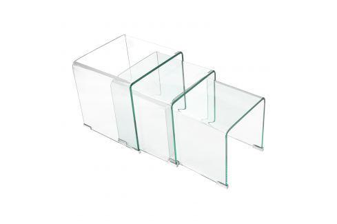 Sada 3 stolků sklo Pokoj a jídelna - Stoly a stolky - Konferenční stolky