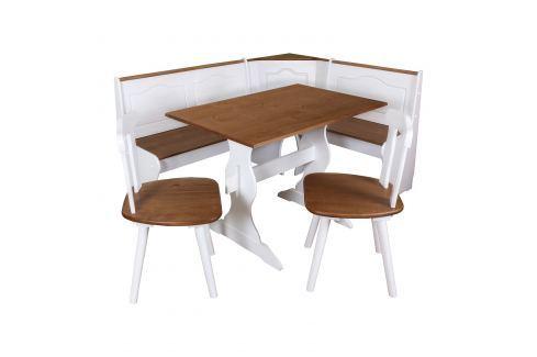 Rohová jídelní souprava TIROL bílá/hnědá Pokoj a jídelna - Jídelní sestavy