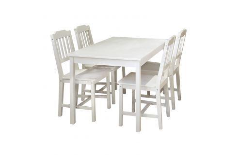 Stůl + 4 židle 8849 bílý lak Pokoj a jídelna - Stoly a stolky - Jídelní stoly
