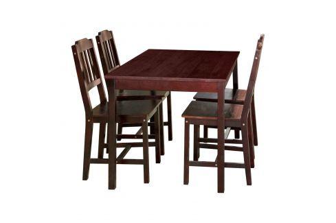 Stůl + 4 židle 8849 tmavohnědý lak Pokoj a jídelna - Stoly a stolky - Jídelní stoly