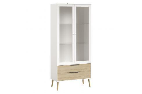 Vitrína 2 zásuvky + 2 dveře NORSK dub/bílá Úložné prostory - Komody