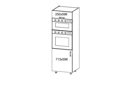 HAMPER vysoká skříň DPS60/207O, korpus šedá grenola, dvířka dub sanremo světlý Kuchyňské linky