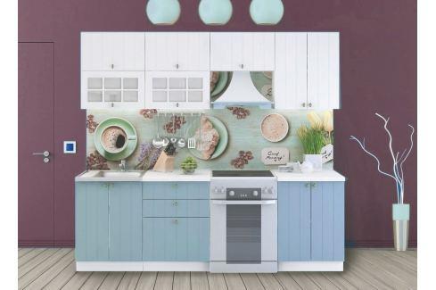 Kuchyně PROVENCE 180/240 cm, bílá/světle modrá Kuchyňské linky