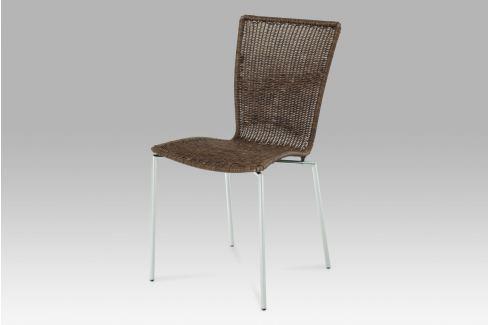 Jídelní židle chrom / UMĚLÝ ratan tmavě hnědý, SF-889 WAL Židle