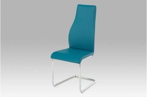 Jídelní židle, koženka petrolejová / chrom, AC-1955 PET Židle