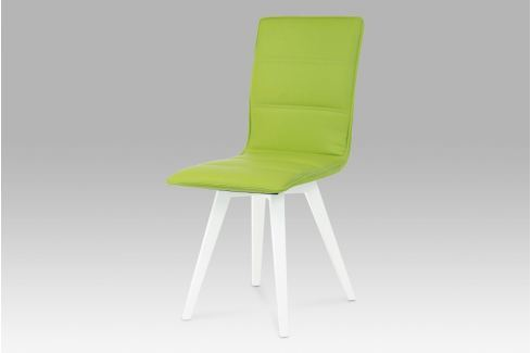 Jídelní židle, koženka limetková / vysoký lesk bílý, B829 LIM1 Židle