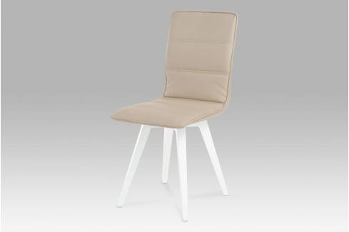 Jídelní židle, koženka cappuccino / vysoký lesk bílý, B829 CAP1 Židle