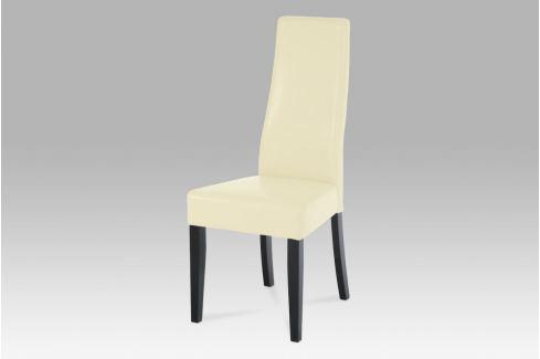Jídelní židle, koženka vanilková / wenge, BE21van BK Židle