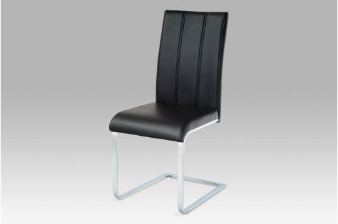 Jídelní židle, chrom / koženka černá, WE-5027 BK Židle