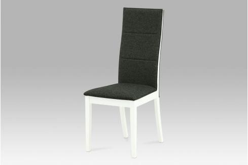 Jídelní židle, bílá / látka šedo-hnědá, C-188 WT Židle