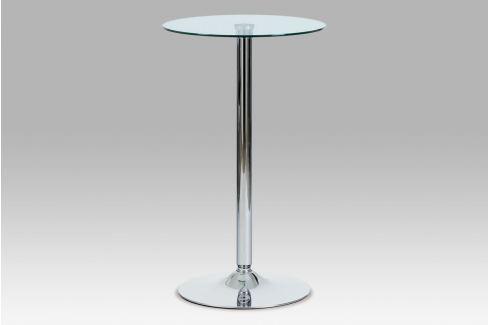 Barový stůl průměr 60, čiré sklo/chrom, AUB-6070 CLR Jídelní stoly