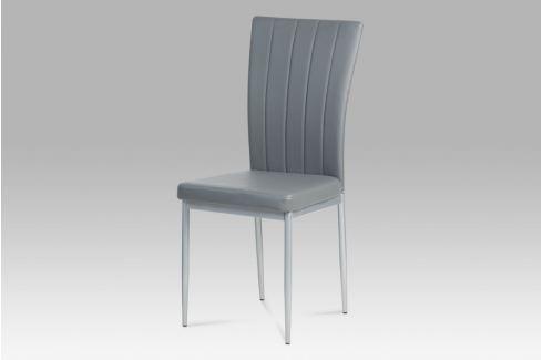 Jídelní židle, koženka šedá / šedý lak, AC-1287 GREY Židle