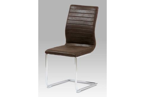 Jídelní židle chrom / látka tmavě hnědá, HC-038-1 BR3 Židle