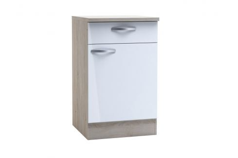 CHANTILY, skříňka dolní se šuplíkem 50 cm, bílý lesk Kuchyňské linky