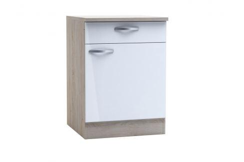 CHANTILY, skříňka dolní se šuplíkem 60 cm, bílý lesk Kuchyňské linky