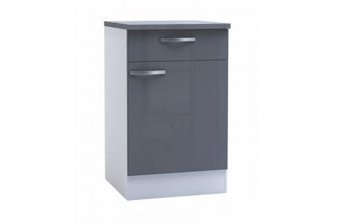 SPACY, skříňka dolní 50 cm, bílá/šedý lesk Kuchyňské linky