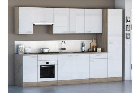 Kuchyně CHANTILY 310 cm, VZOROVÁ SESTAVA, bílý lesk Kuchyňské linky