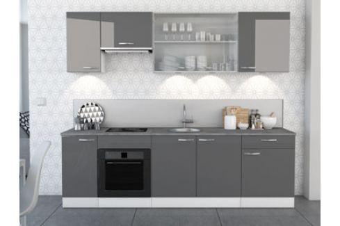 Kuchyně SPACY 260 cm, VZOROVÁ SESTAVA, bílá/šedý lesk Kuchyňské linky